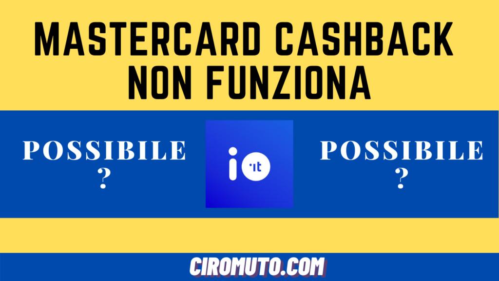 Mastercard cashback non funziona
