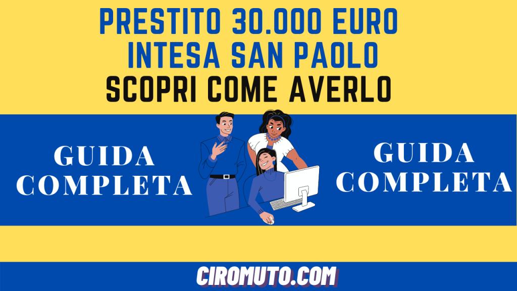 PRESTITO 25.000 euro INTESA San PAOLO